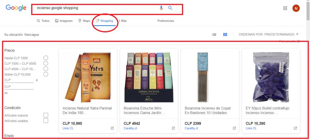 Productos de Google Shopping
